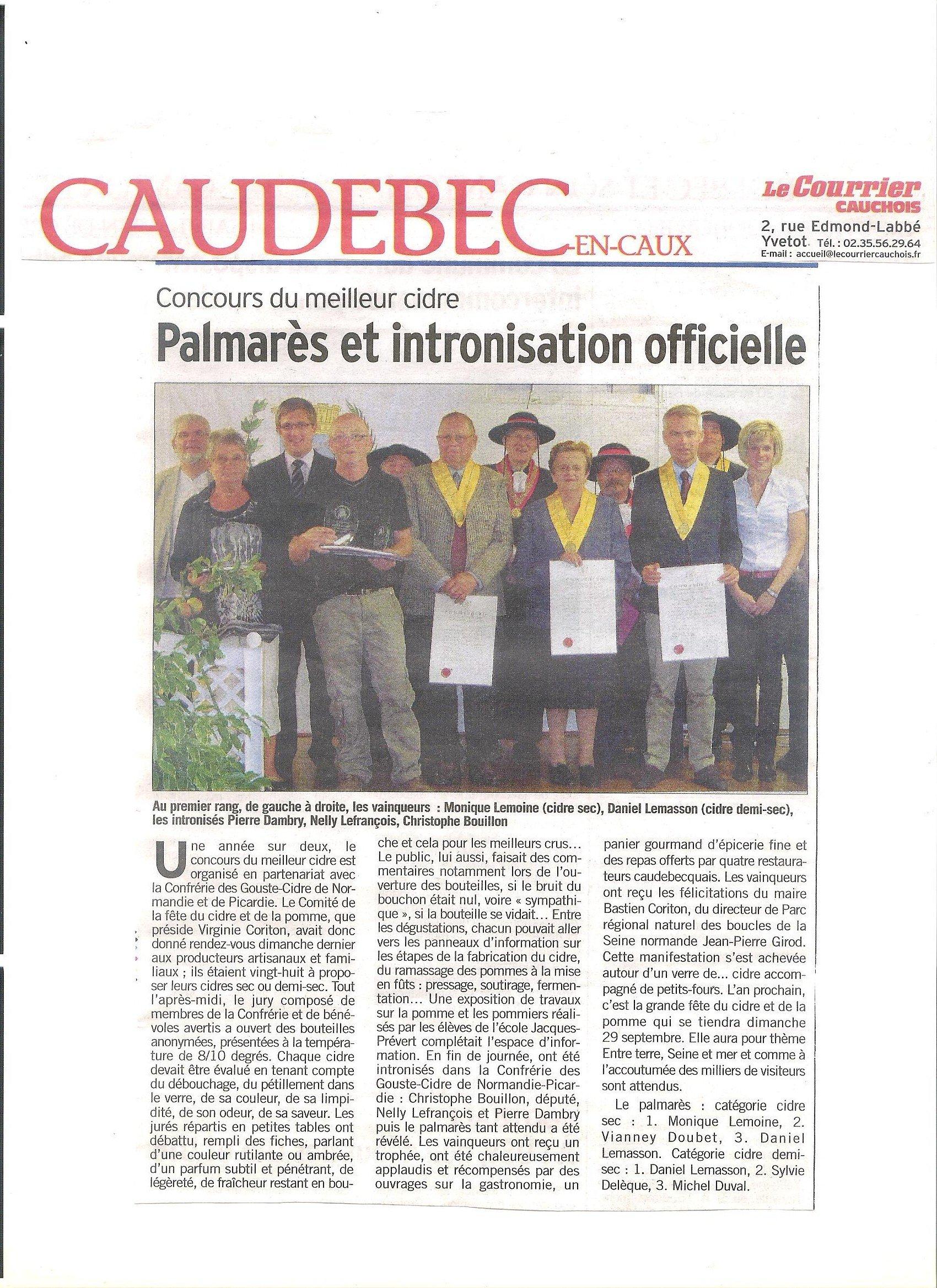Article - Courrier cauchois du 6 octobre 2012 dans Revue de presse article-concours-de-cidre-20121